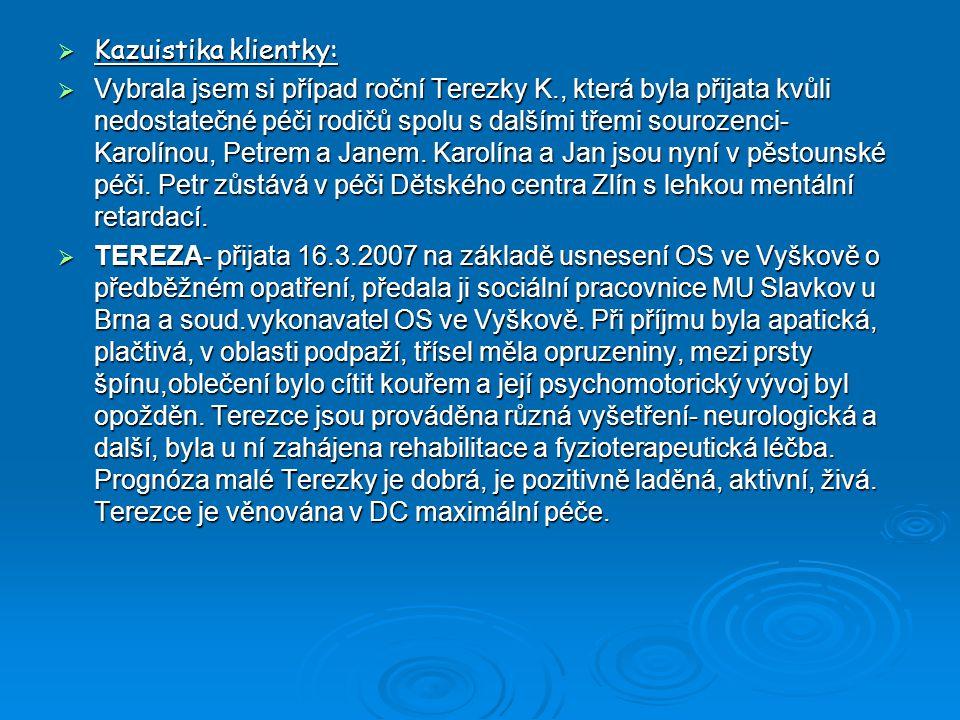  Kazuistika klientky:  Vybrala jsem si případ roční Terezky K., která byla přijata kvůli nedostatečné péči rodičů spolu s dalšími třemi sourozenci-