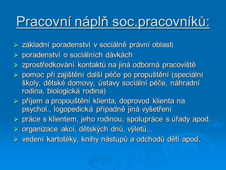 Pracovní náplň soc.pracovníků:  základní poradenství v sociálně právní oblasti  poradenství o sociálních dávkách  zprostředkování kontaktů na jiná