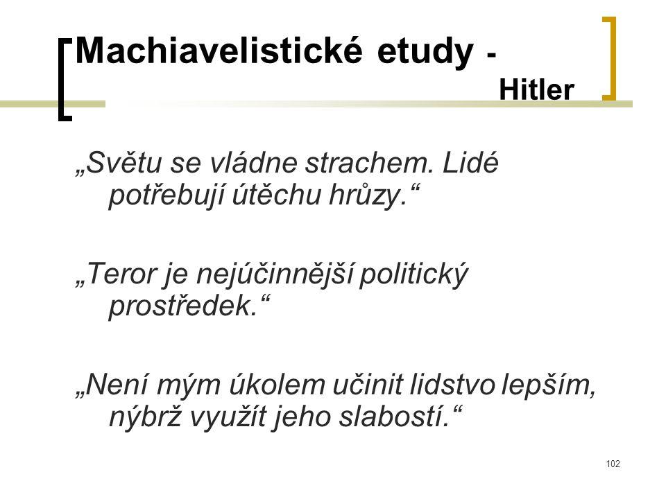 """102 Machiavelistické etudy - Hitler """"Světu se vládne strachem."""
