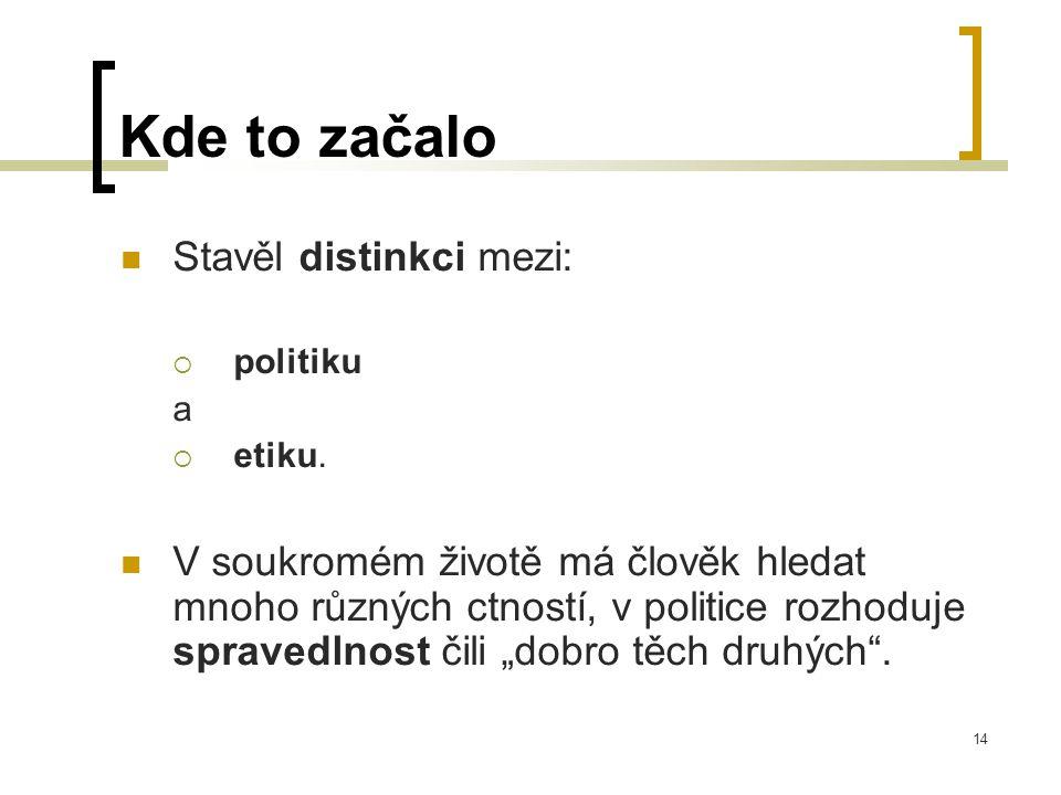 14 Kde to začalo  Stavěl distinkci mezi:  politiku a  etiku.
