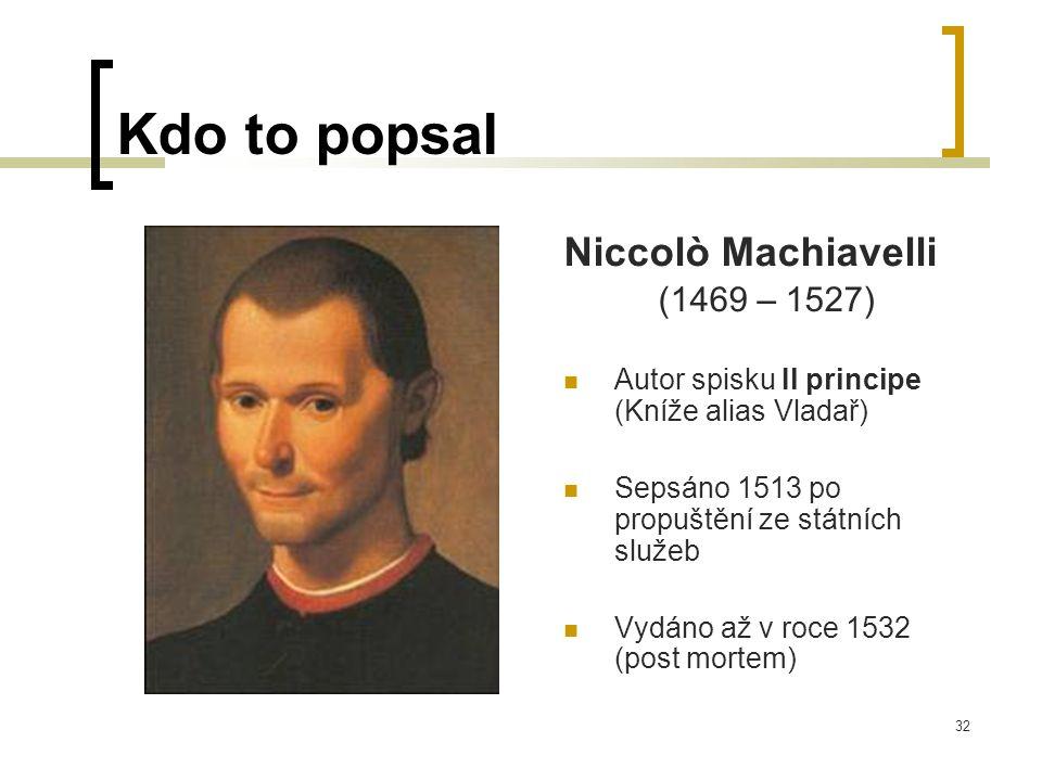 32 Kdo to popsal Niccolò Machiavelli (1469 – 1527)  Autor spisku Il principe (Kníže alias Vladař)  Sepsáno 1513 po propuštění ze státních služeb  Vydáno až v roce 1532 (post mortem)