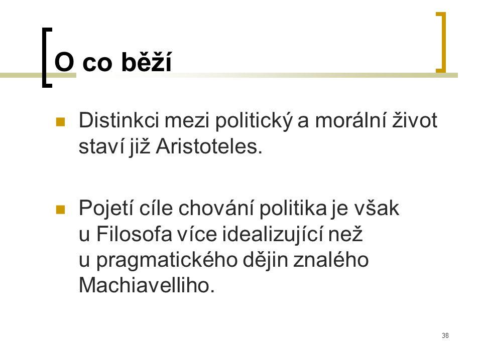 38 O co běží  Distinkci mezi politický a morální život staví již Aristoteles.