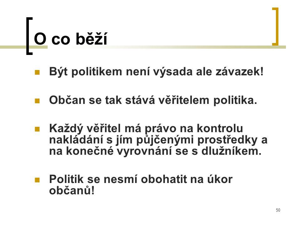 50 O co běží  Být politikem není výsada ale závazek.