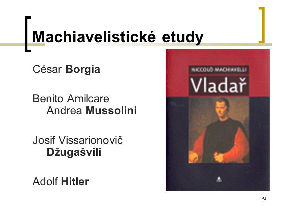 54 Machiavelistické etudy César Borgia Benito Amilcare Andrea Mussolini Josif Vissarionovič Džugašvili Adolf Hitler