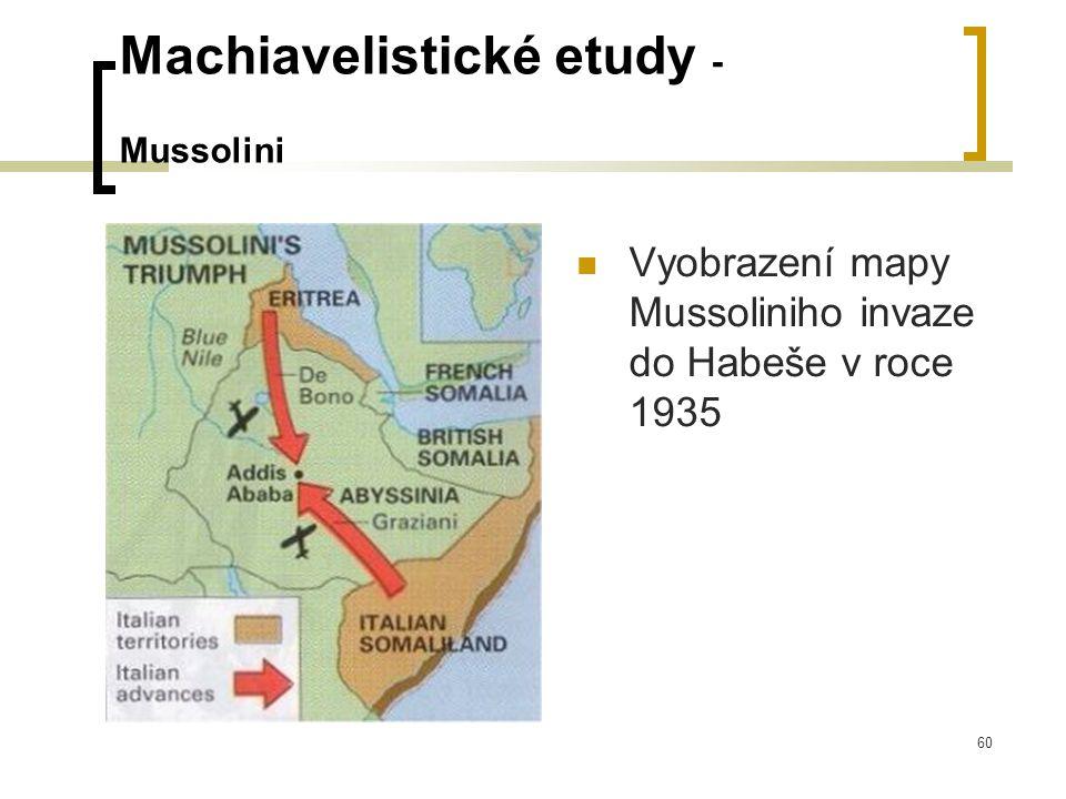 60 Machiavelistické etudy - Mussolini  Vyobrazení mapy Mussoliniho invaze do Habeše v roce 1935