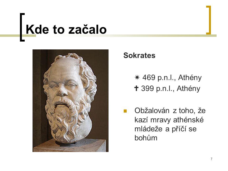 7 Sokrates  469 p.n.l., Athény  399 p.n.l., Athény  Obžalován z toho, že kazí mravy athénské mládeže a příčí se bohům