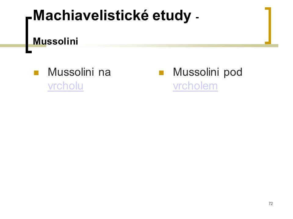 72 Machiavelistické etudy - Mussolini  Mussolini na vrcholu vrcholu  Mussolini pod vrcholem vrcholem