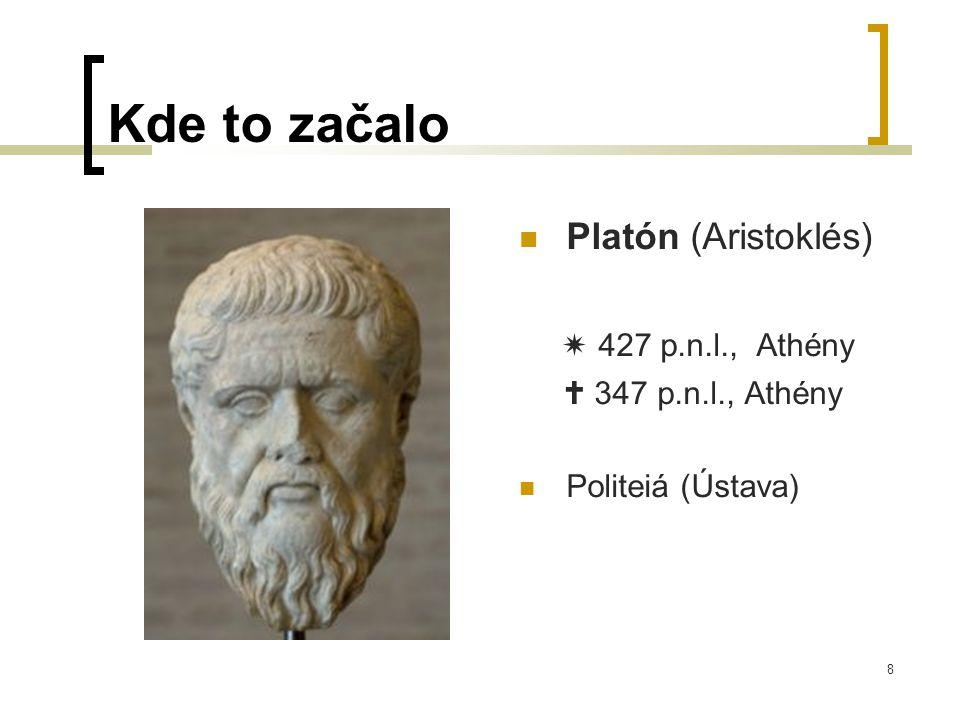 8 Kde to začalo  Platón (Aristoklés)  427 p.n.l., Athény  347 p.n.l., Athény  Politeiá (Ústava)