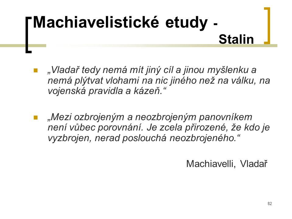 """82 Machiavelistické etudy - Stalin  """"Vladař tedy nemá mít jiný cíl a jinou myšlenku a nemá plýtvat vlohami na nic jiného než na válku, na vojenská pravidla a kázeň.  """"Mezi ozbrojeným a neozbrojeným panovníkem není vůbec porovnání."""