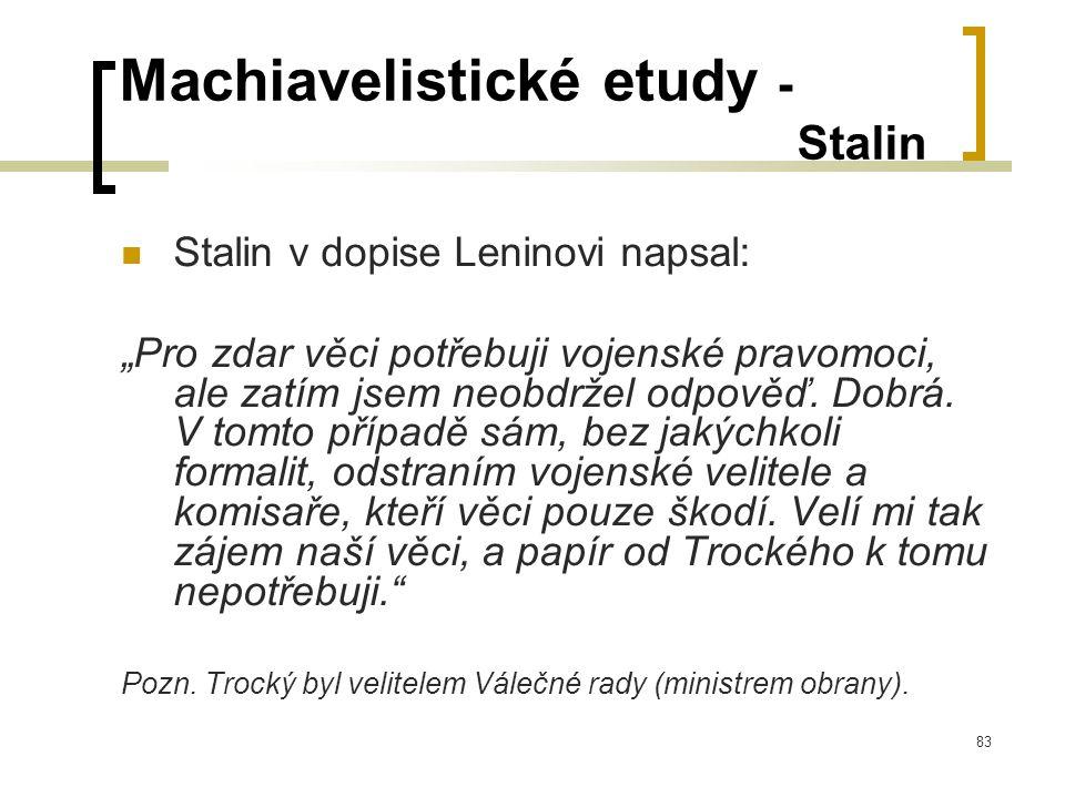 """83 Machiavelistické etudy - Stalin  Stalin v dopise Leninovi napsal: """"Pro zdar věci potřebuji vojenské pravomoci, ale zatím jsem neobdržel odpověď."""
