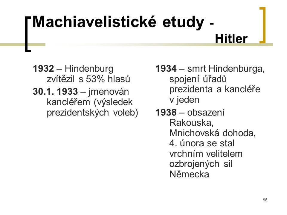 96 Machiavelistické etudy - Hitler 1932 – Hindenburg zvítězil s 53% hlasů 30.1.