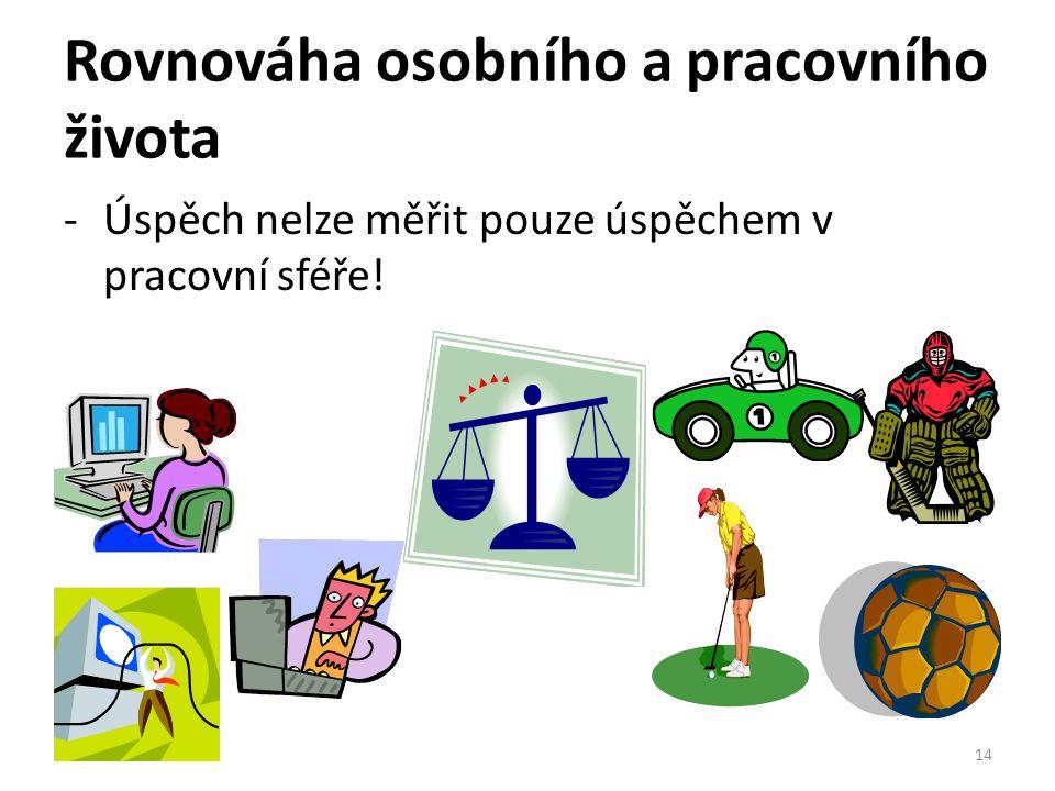 Rovnováha osobního a pracovního života -Úspěch nelze měřit pouze úspěchem v pracovní sféře! 14