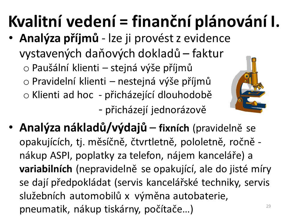 Kvalitní vedení = finanční plánování I. • Analýza příjmů - lze ji provést z evidence vystavených daňových dokladů – faktur o Paušální klienti – stejná
