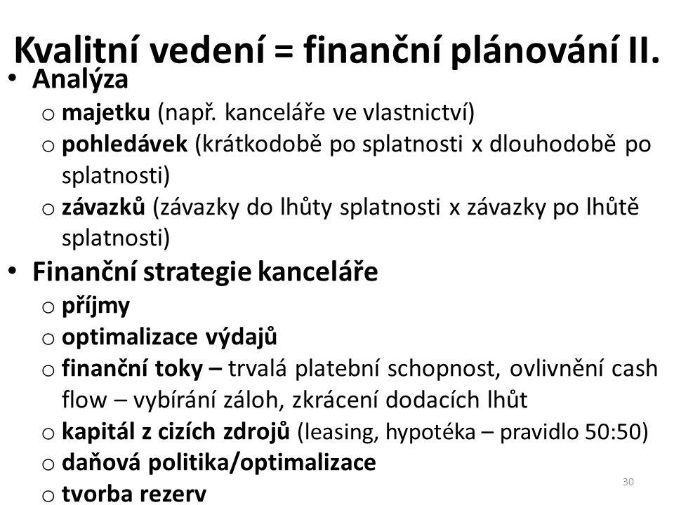 Kvalitní vedení = finanční plánování II. • Analýza o majetku (např. kanceláře ve vlastnictví) o pohledávek (krátkodobě po splatnosti x dlouhodobě po s