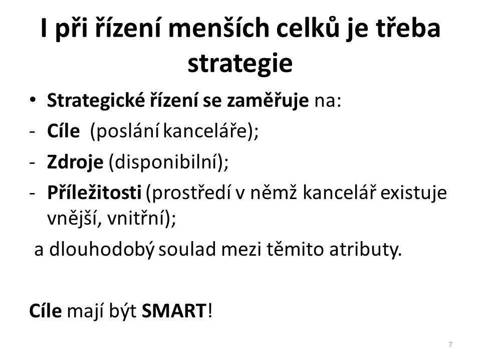I při řízení menších celků je třeba strategie • Strategické řízení se zaměřuje na: -Cíle (poslání kanceláře); -Zdroje (disponibilní); -Příležitosti (p