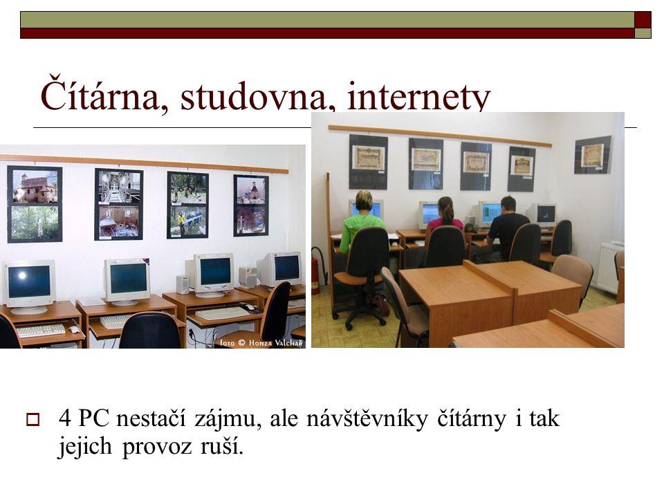 Čítárna, studovna, internety  4 PC nestačí zájmu, ale návštěvníky čítárny i tak jejich provoz ruší.
