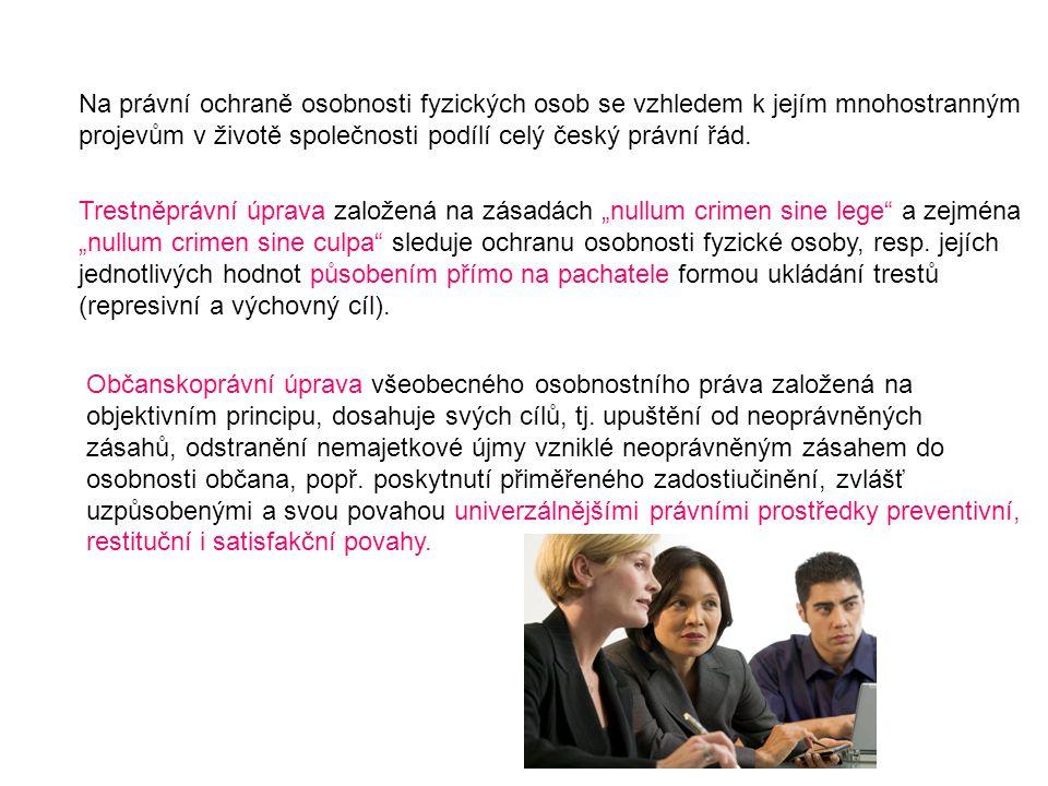 Na právní ochraně osobnosti fyzických osob se vzhledem k jejím mnohostranným projevům v životě společnosti podílí celý český právní řád. Trestněprávní