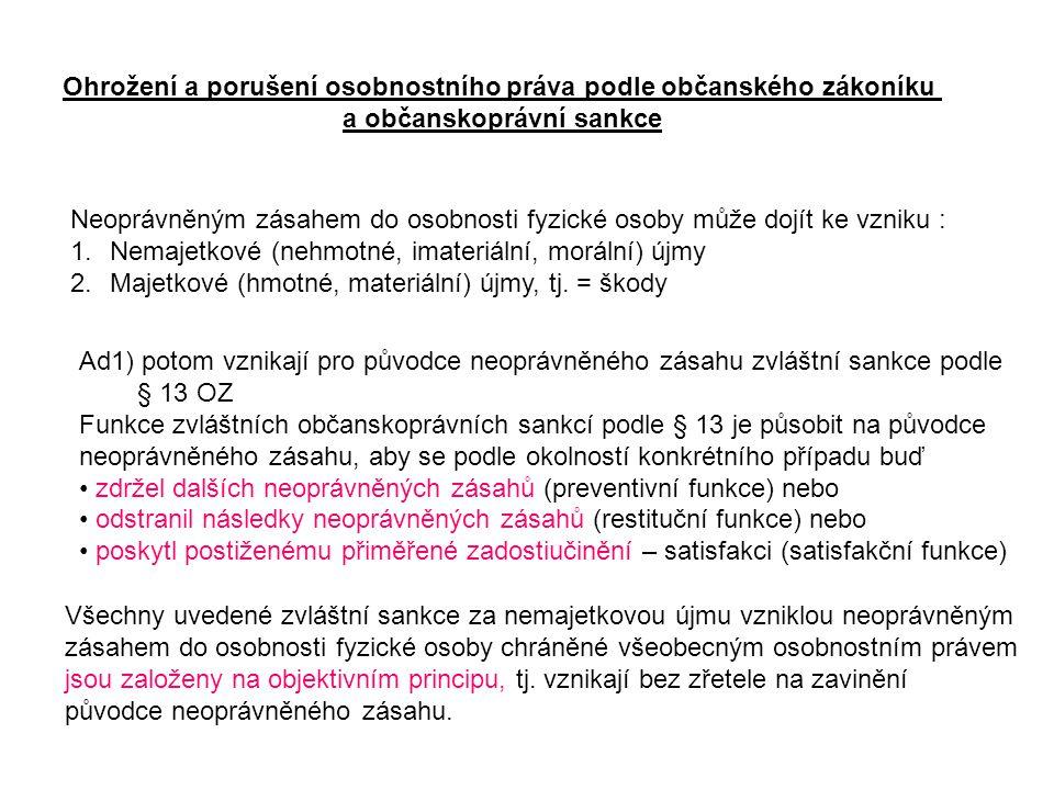 Ad2) Tam, kde neoprávněným zásahem do osobnosti fyzické osoby dochází současně i ke vzniku škody, vznikají zároveň občanskoprávní sankce za škodu.