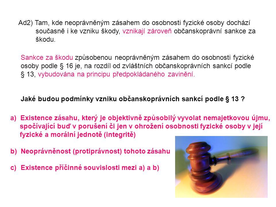 Ad2) Tam, kde neoprávněným zásahem do osobnosti fyzické osoby dochází současně i ke vzniku škody, vznikají zároveň občanskoprávní sankce za škodu. San