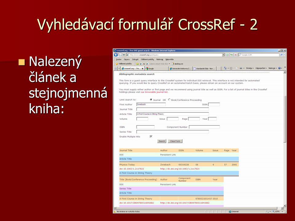 Vyhledávací formulář CrossRef - 2  Nalezený článek a stejnojmenná kniha: