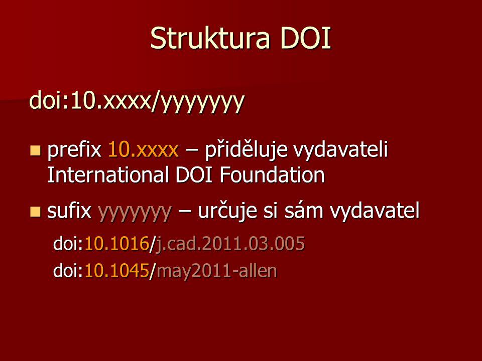 Struktura DOI doi:10.xxxx/yyyyyyy  prefix 10.xxxx – přiděluje vydavateli International DOI Foundation  sufix yyyyyyy – určuje si sám vydavatel doi:1