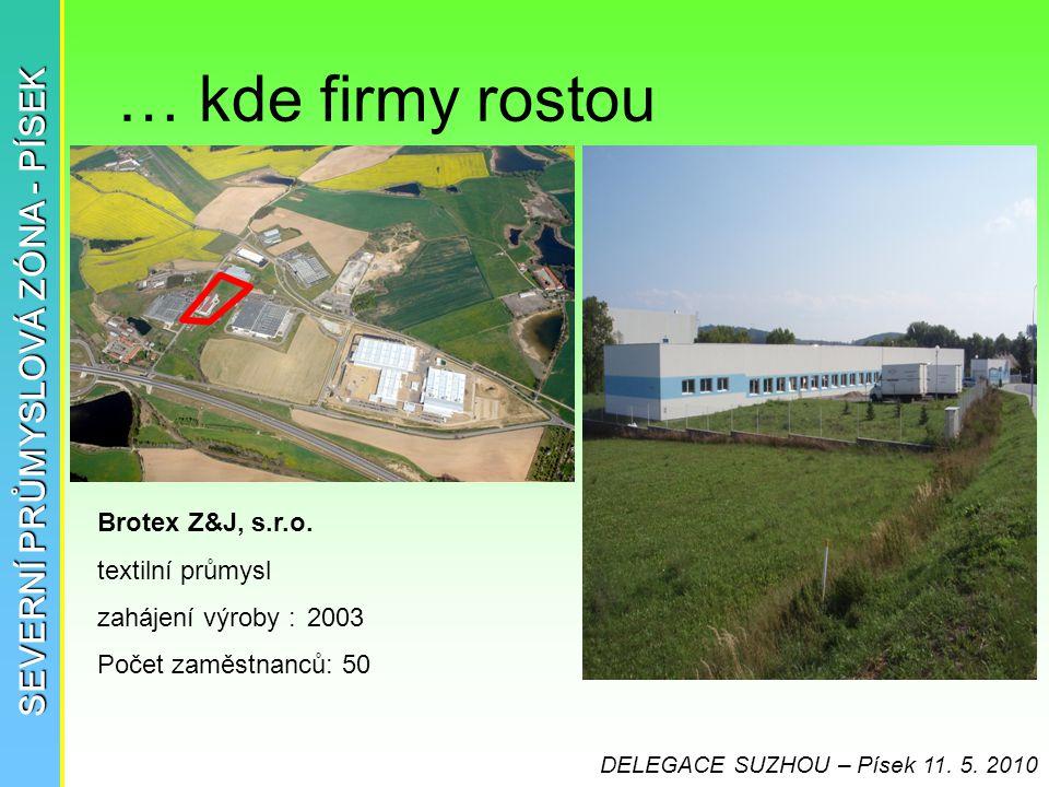 … kde firmy rostou SEVERNÍ PRŮMYSLOVÁ ZÓNA - PÍSEK Brotex Z&J, s.r.o. textilní průmysl zahájení výroby :2003 Počet zaměstnanců: 50 DELEGACE SUZHOU – P
