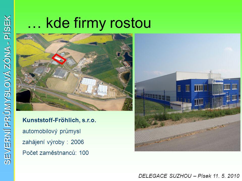 … kde firmy rostou SEVERNÍ PRŮMYSLOVÁ ZÓNA - PÍSEK Kunststoff-Fröhlich, s.r.o. automobilový průmysl zahájení výroby :2006 Počet zaměstnanců: 100 DELEG