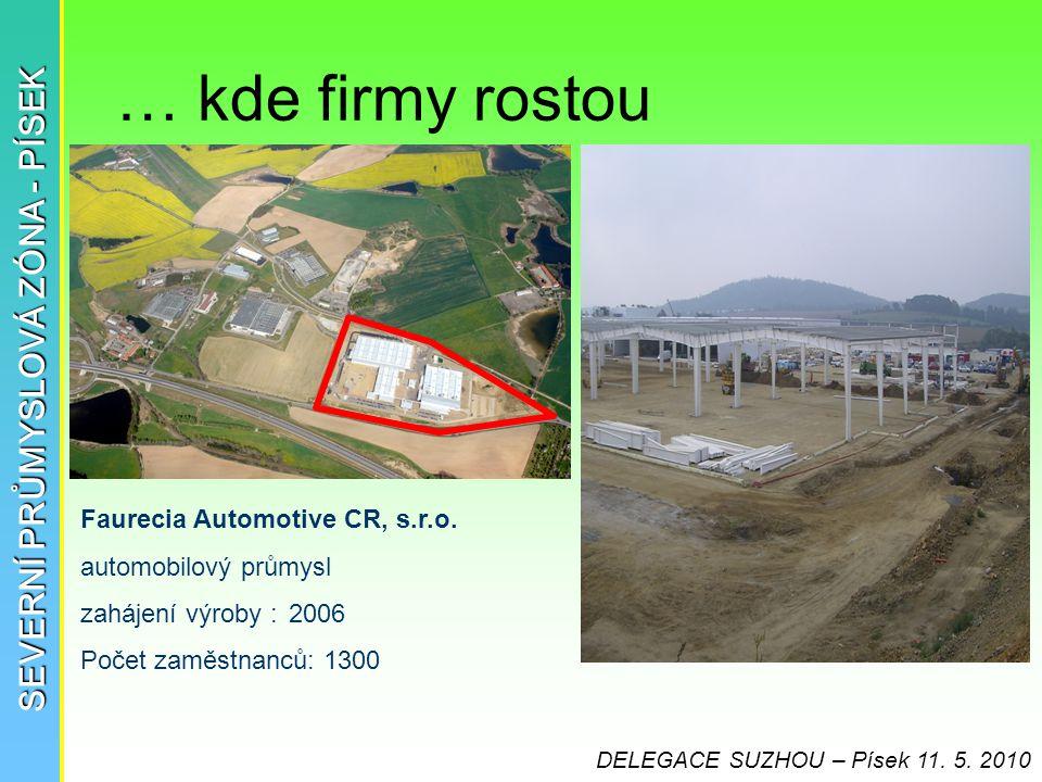 … kde firmy rostou SEVERNÍ PRŮMYSLOVÁ ZÓNA - PÍSEK Faurecia Automotive CR, s.r.o. automobilový průmysl zahájení výroby :2006 Počet zaměstnanců: 1300 D