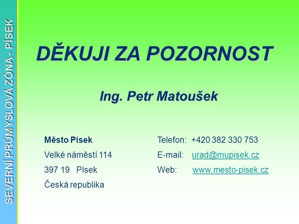 SEVERNÍ PRŮMYSLOVÁ ZÓNA - PÍSEK Město Písek Velké náměstí 114 397 19 Písek Česká republika DĚKUJI ZA POZORNOST Telefon: +420 382 330 753 E-mail: urad@