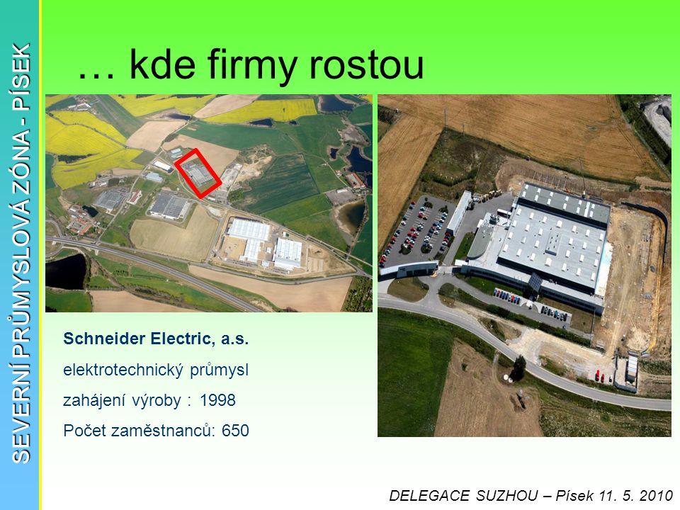… kde firmy rostou SEVERNÍ PRŮMYSLOVÁ ZÓNA - PÍSEK Schneider Electric, a.s. elektrotechnický průmysl zahájení výroby :1998 Počet zaměstnanců: 650 DELE