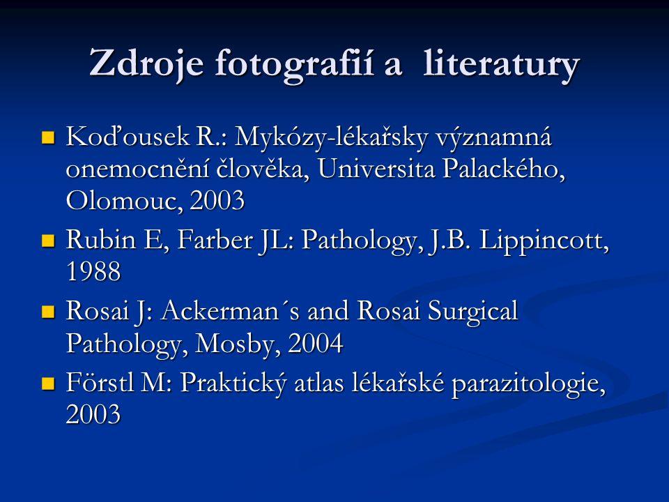 Zdroje fotografií a literatury  Koďousek R.: Mykózy-lékařsky významná onemocnění člověka, Universita Palackého, Olomouc, 2003  Rubin E, Farber JL: Pathology, J.B.