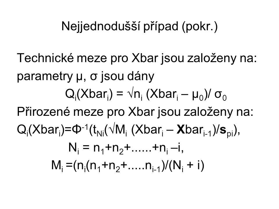 Nejjednodušší případ (pokr.) Technické meze pro Xbar jsou založeny na: parametry μ, σ jsou dány Q i (Xbar i ) = √n i (Xbar i – μ 0 )/ σ 0 Přirozené me