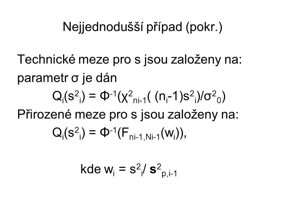 Nejjednodušší případ (pokr.) Technické meze pro s jsou založeny na: parametr σ je dán Q i (s 2 i ) = Φ -1 (χ 2 ni-1 ( (n i -1)s 2 i )/σ 2 0 ) Přirozen