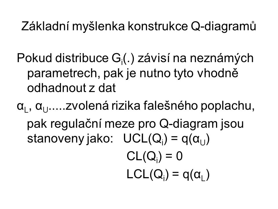 Základní myšlenka konstrukce Q-diagramů Pokud distribuce G i (.) závisí na neznámých parametrech, pak je nutno tyto vhodně odhadnout z dat α L, α U...