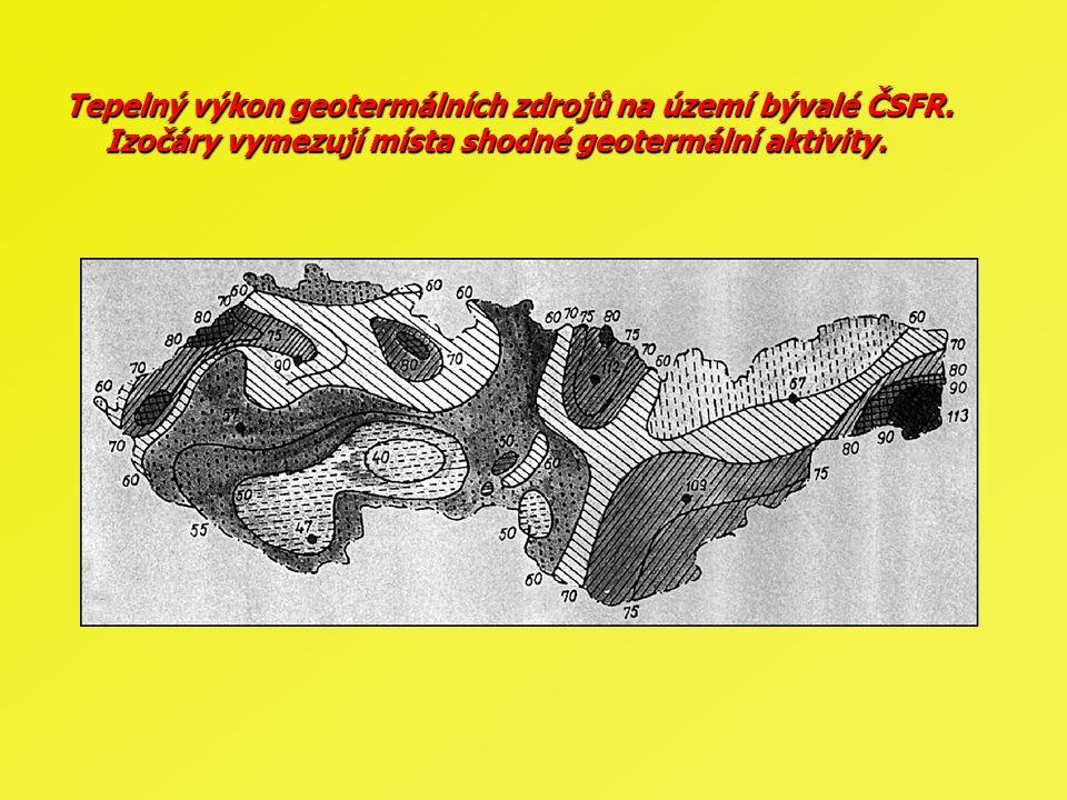Tepelný výkon geotermálních zdrojů na území bývalé ČSFR. Izočáry vymezují místa shodné geotermální aktivity.