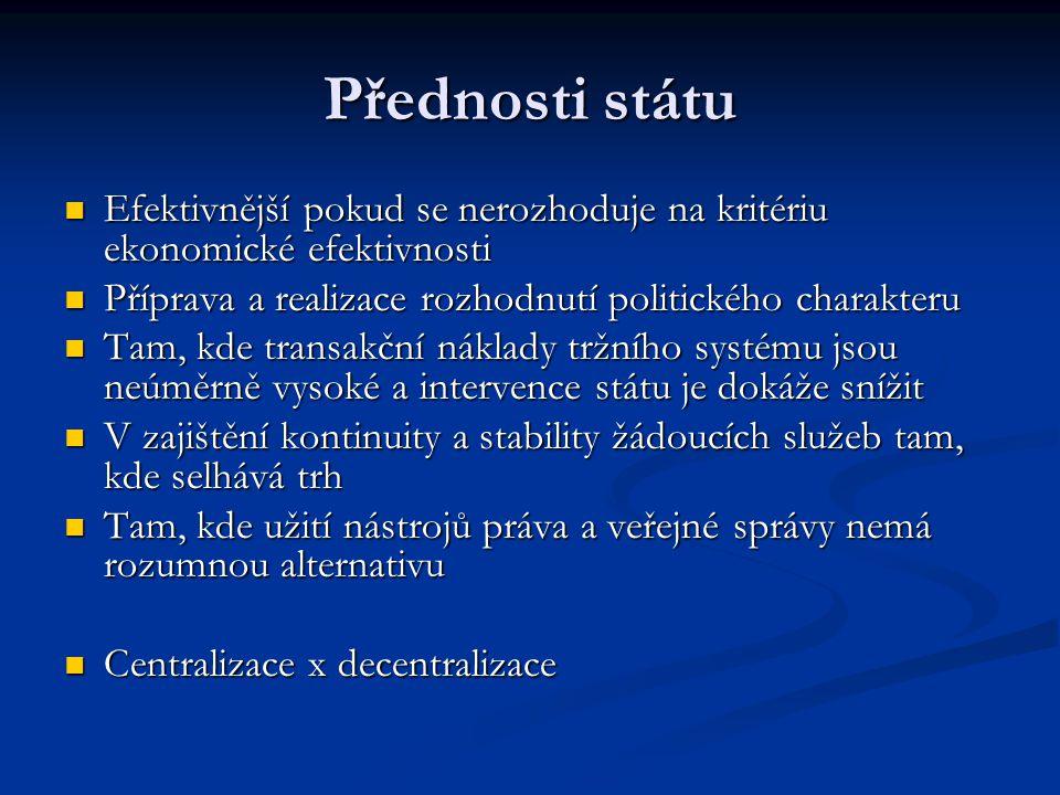 Přednosti státu  Efektivnější pokud se nerozhoduje na kritériu ekonomické efektivnosti  Příprava a realizace rozhodnutí politického charakteru  Tam