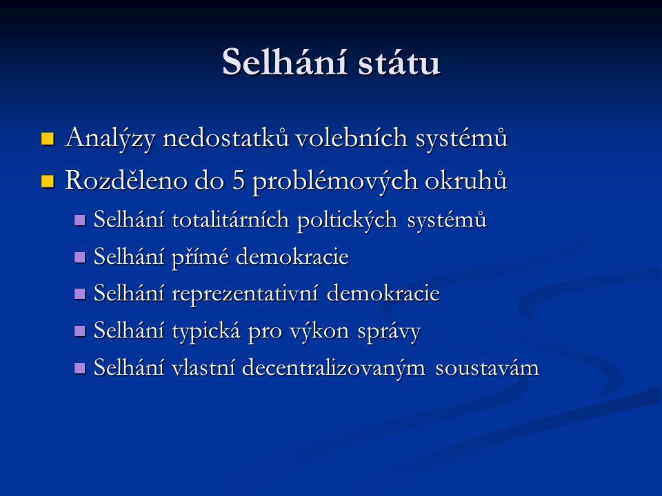 Selhání státu  Analýzy nedostatků volebních systémů  Rozděleno do 5 problémových okruhů  Selhání totalitárních poltických systémů  Selhání přímé demokracie  Selhání reprezentativní demokracie  Selhání typická pro výkon správy  Selhání vlastní decentralizovaným soustavám