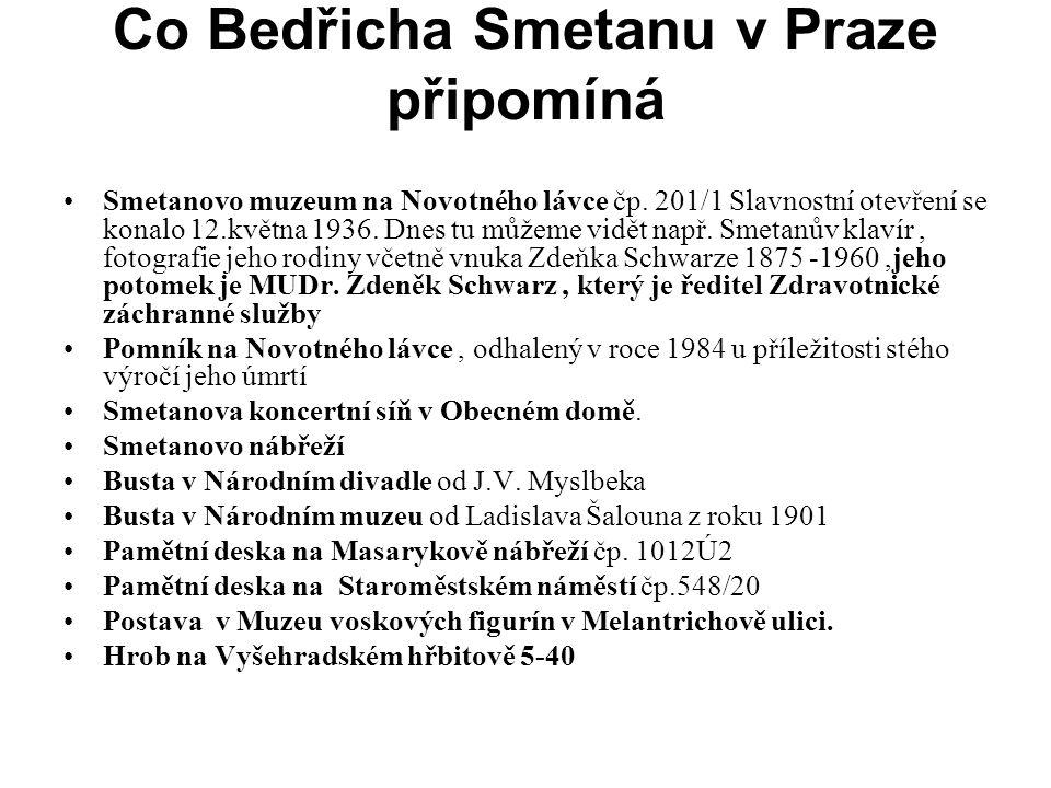Co Bedřicha Smetanu v Praze připomíná •Smetanovo muzeum na Novotného lávce čp. 201/1 Slavnostní otevření se konalo 12.května 1936. Dnes tu můžeme vidě