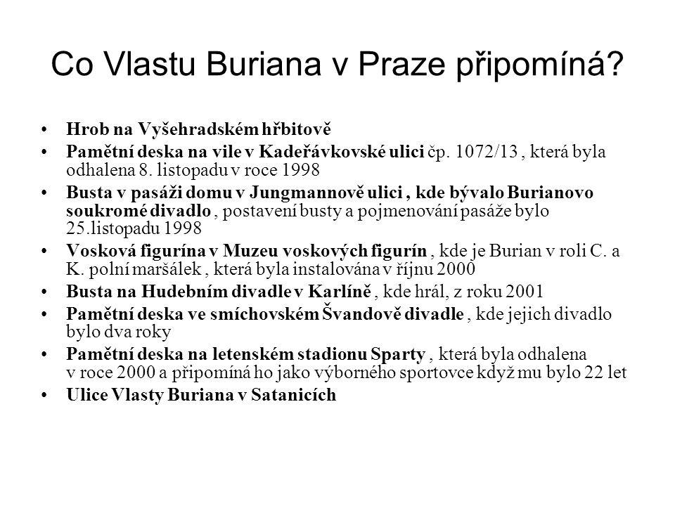 Co Vlastu Buriana v Praze připomíná? •Hrob na Vyšehradském hřbitově •Pamětní deska na vile v Kadeřávkovské ulici čp. 1072/13, která byla odhalena 8. l