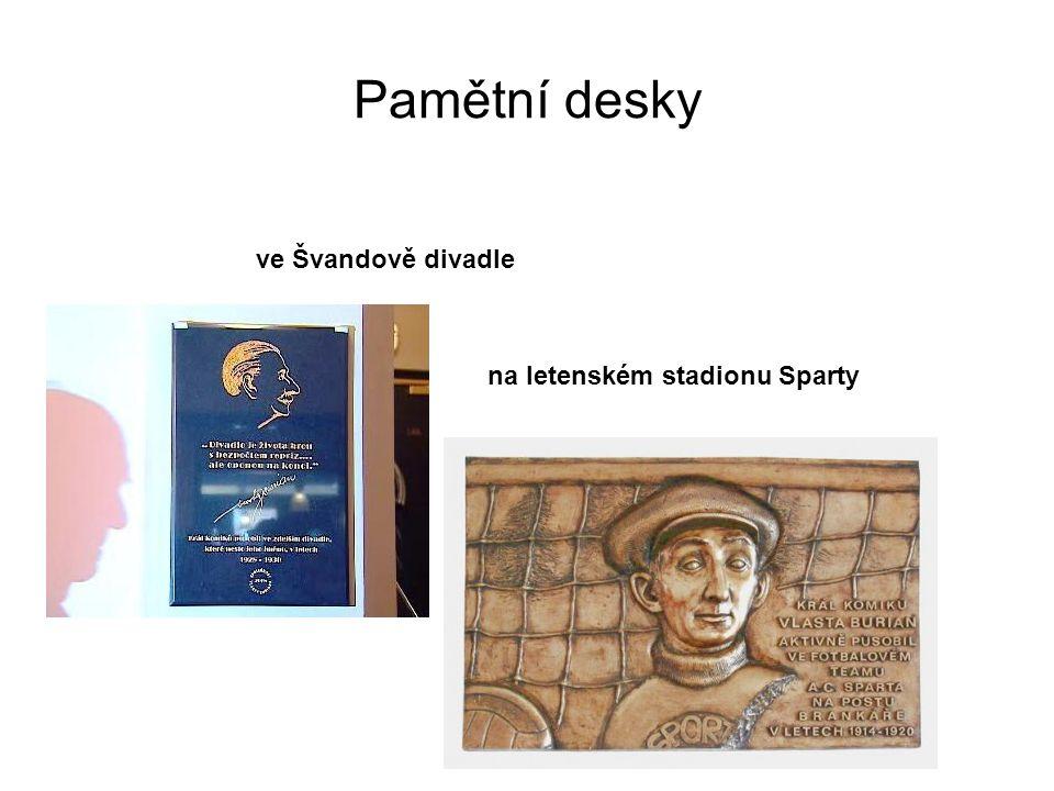 Pamětní desky ve Švandově divadle na letenském stadionu Sparty