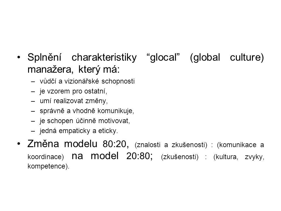 """•Splnění charakteristiky """"glocal"""" (global culture) manažera, který má: –vůdčí a vizionářské schopnosti –je vzorem pro ostatní, –umí realizovat změny,"""
