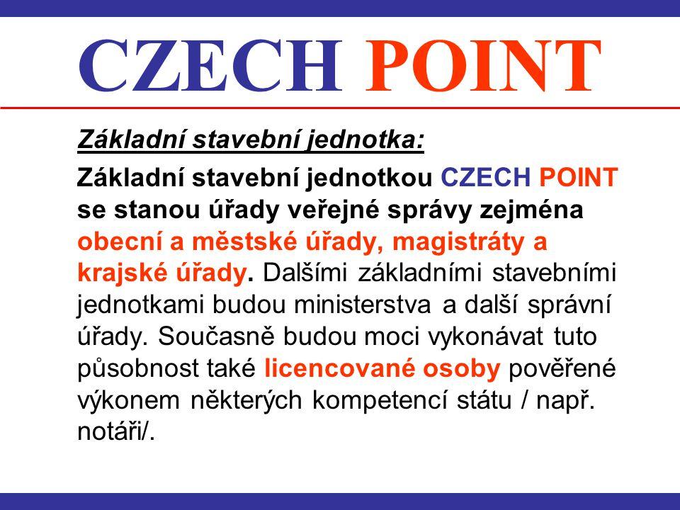 CZECH POINT Základní stavební jednotka: Základní stavební jednotkou CZECH POINT se stanou úřady veřejné správy zejména obecní a městské úřady, magistr