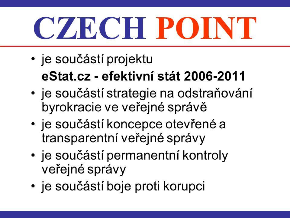 CZECH POINT •je součástí projektu eStat.cz - efektivní stát 2006-2011 •je součástí strategie na odstraňování byrokracie ve veřejné správě •je součástí