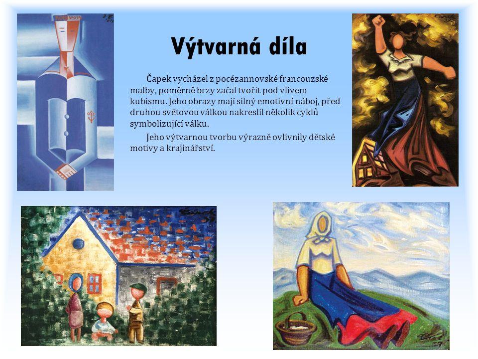 Výtvarná díla Čapek vycházel z pocézannovské francouzské malby, poměrně brzy začal tvořit pod vlivem kubismu. Jeho obrazy mají silný emotivní náboj, p