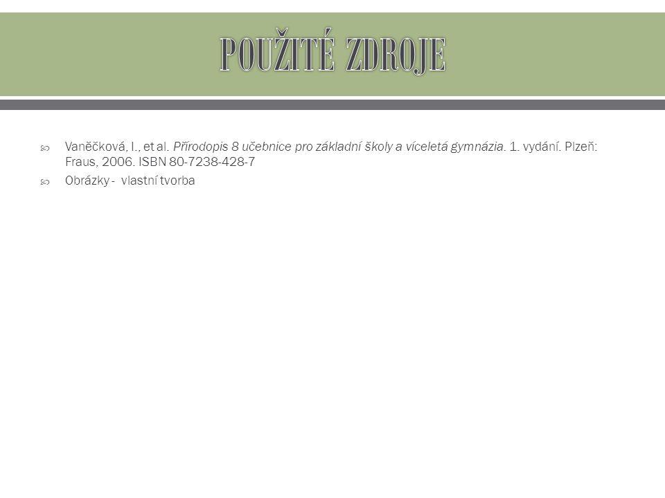  Vaněčková, I., et al. Přírodopis 8 učebnice pro základní školy a víceletá gymnázia. 1. vydání. Plzeň: Fraus, 2006. ISBN 80-7238-428-7  Obrázky - vl