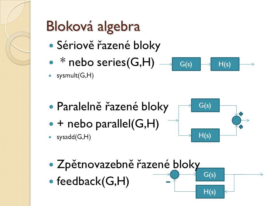 G(s) H(s) Bloková algebra  Sériově řazené bloky  * nebo series(G,H)  sysmult(G,H)  Paralelně řazené bloky  + nebo parallel(G,H)  sysadd(G,H)  Zpětnovazebně řazené bloky  feedback(G,H) G(s)H(s) G(s) H(s)
