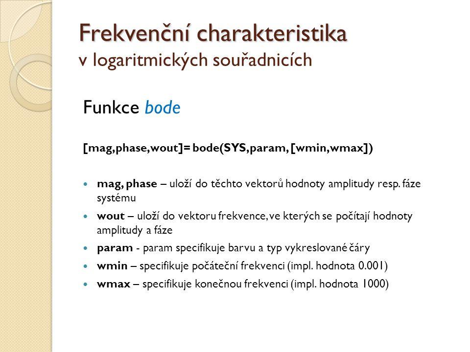 Frekvenční charakteristika Frekvenční charakteristika v logaritmických souřadnicích Funkce bode [mag,phase,wout]= bode(SYS,param, [wmin,wmax])  mag,