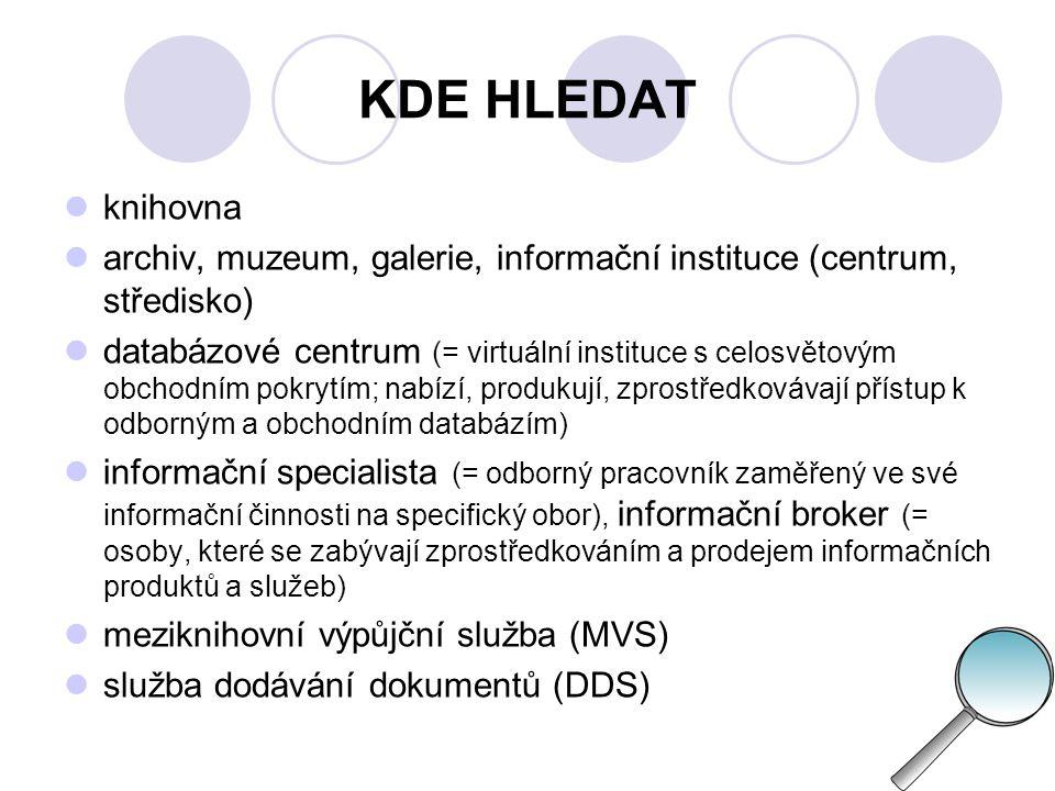 KDE HLEDAT - KNIHOVNY Systém knihoven ČR jmenované v zákoně tvoří:  Národní knihovna ČR  Knihovna a tiskárna pro nevidomé K.
