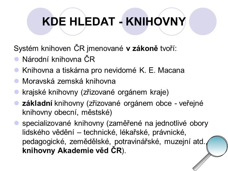 KDE HLEDAT - KNIHOVNY Druhy knihoven podle uživatele:  univerzitní, vysokoškolské, školní  ústřední odborné  specializované  vědecké  veřejné  soukromé.