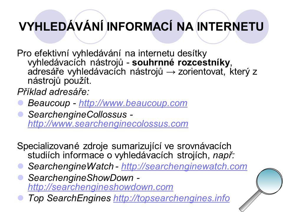 INTERNET - HODNOCENÍ INFORMACÍ - problém, jak oddělit zrno od plev, Internet = svobodný prostor, kde kdokoli o čemkoli, žádný cenzor obsahů, informace žijí vlastním životem a nikdo je neaktualizuje.